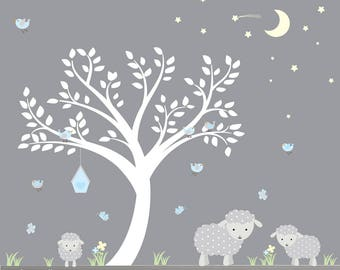 Nursery Wall Decals-Reusable Wall Decals-Lamb Wall Decals-Lamb Nursery Decor-Sheep, Moon, Stars, Birds, Tree Decal-Boy Nursery Decor-Decal