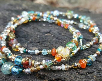 Long gemstone glass bead layering necklace, boho long necklace, colorful long beaded necklace, festival jewelry, infinity necklace
