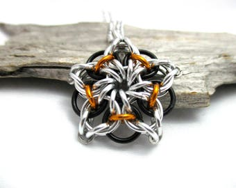 Chainmail Star - Star Chainmaille Pendant - Celtic Star Pendant Necklace - Black & Orange Star Pendant
