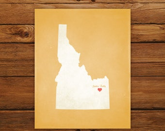 Customized Idaho State Art Print, State Map, Heart, Silhouette, Aged-Look Personalized Print