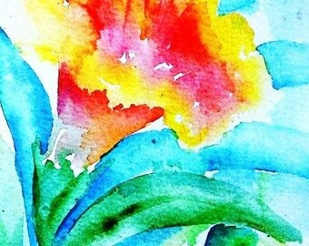 "Flowers, watercolor ""Orange Hibiscus "" Summer,  Floral art,  Original painting -Exotic bloom."