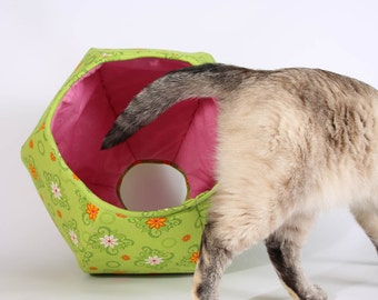 Cat Ball Cat Bed in Lime Green and Pink Flower Fabric - a modern hexagonal pet bed design with two openings