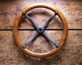 Antique Ford Model T Steering Wheel - Wood and Cast Iron Automobile Wheel