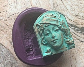 Goddess face art deco flexible silicone mold