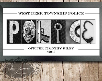 Police Alphabet Photography, Letter Art Custom Print
