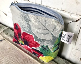 BLOSSOM - reconstructed vintage barkcloth zippered pouch small