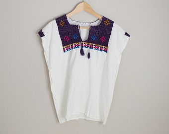 vintage bohemian ethnic mexican embroidered muslin peasant blouse -- womens medium