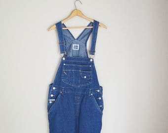 vintage 80s 90s dark wash denim jean classic shortalls -- womens medium