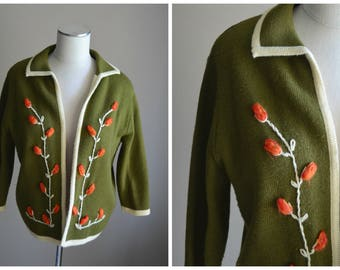 vintage 50s 60s avacodo green floral embroidered sweater cardigan -- womens medium