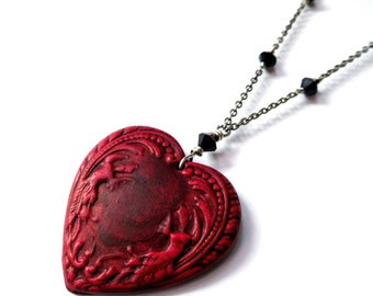 Red heart pendant long necklace - polymer clay large heart, dark red Austrian crystal, antique silver chain, Valentines Day heart jewelry
