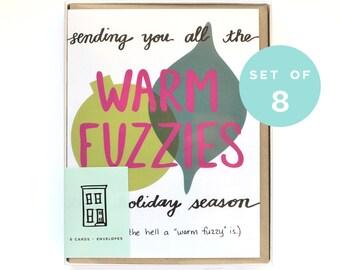 Funny Christmas Card Set - Warm Fuzzy Holiday Card Set- Set of Christmas Cards