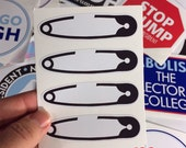 safety pin movement vinyl bumper stickers (4 to a sheet) smaller size