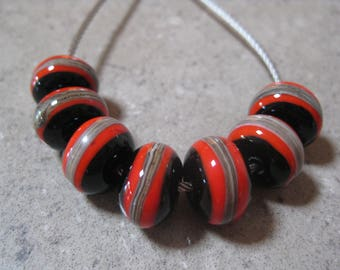 Lampwork Glass Beads. Red and Black Glass Beads. Silver Ivory Stripe. Handmade Glass Beads.  Australian Artisan Beads. Kiln Fired Beads.