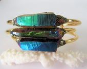 Raw Crystal Bracelet - Raw Stone Cuff- Rainbow Titanium - Pyrite Minerals