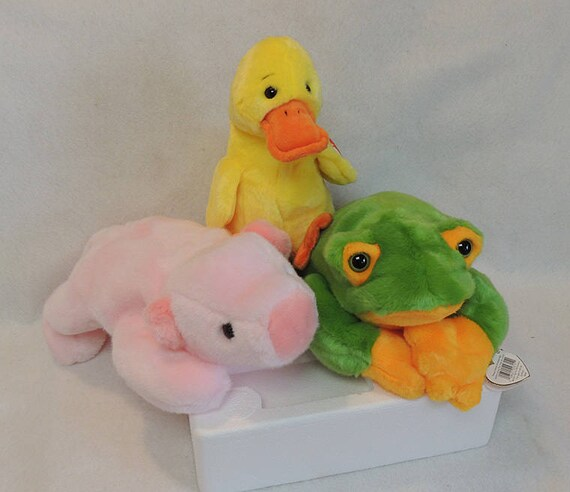3 ty Beanie Buddies For Spring.. Quackers Duck, Squealer Pig & Smoochy Frog.. Retired NWMT