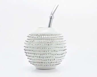 White Porcelain Yerba Mate Gourd with Spikes topped with Platinum - Luxury Mate Mug