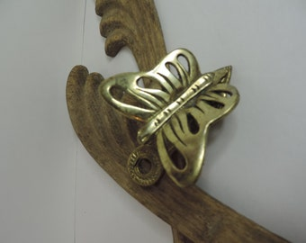 Brass Butterfly Note Holder Brass Insect Brass Collectible Regency Style Office Home Decor Vintage Brass