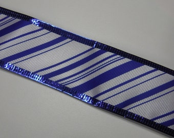 Blue Stripd Wire Edge Ribbon 2 1/2 Yards