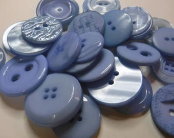 25 Light Blue Large Buttons Assorted Round Crafting Sewing Buttons