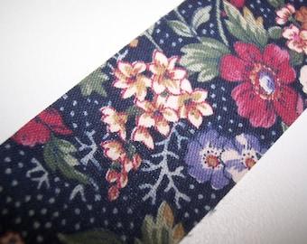 Blue Dark Floral Fabric Ribbon 2 Yards