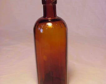 c1890s Kendall's Spavin Cure Enosburg Falls, VT. , Amber Cork Top Veterinary Medicine Bottle