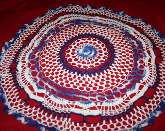 Vintage Hand Crocheted Doily- 26 inch