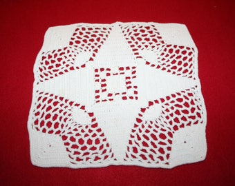 Vintage Hand Crocheted Doily- Square