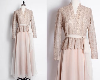 vintage romantic gown/ lace bodice dress/ mother of the bride/ soft beige chiffon/ peplum top dress/ evening gown/ moh/ lace top