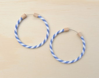 Circlet Hoop Earrings in Denim Blue Stripe