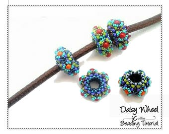 Beading Pattern, Right Angle Weave, Beaded Spacers, Slider Beads Beading Instructions, DIY Donut Beads Jewelry Beading Tutorial DAISY WHEEL