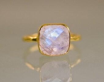 SALE - Rainbow Moonstone Ring - June Birthstone Ring - Gemstone Ring - Stacking Ring - Gold Ring- Cushion Cut Ring