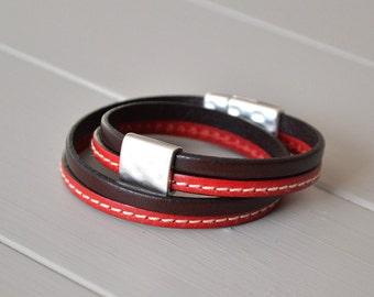 Leather Bracelet, Red Brown Bracelet, Multi Strand Bracelet, Leather Wrist Strap