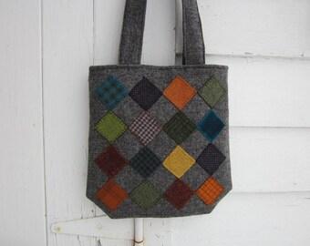 Wool penny rug purse, handbag