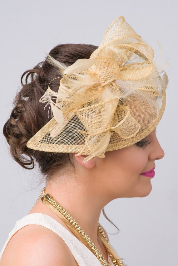 """Champagne Gold Fascinator - """"Penny"""" Mesh Hat Fascinator with Mesh Ribbons & Golden Feathers"""