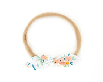 Baby Bow - Floral Bow Headband - Baby Knot Headband - Hair Bow