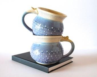 MADE TO ORDER...One Handmade Pottery Coffee Mug / 12, 16, or 20 ounces / Round Dotty Mug, Lavender and Oatmeal Glaze