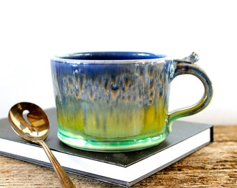 MADE TO ORDER...One Handmade Pottery Coffee Mug, Green and Blue Waterfall