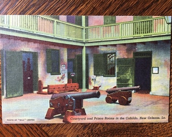 Coutyard and Prison in Cabildo New Orleans 1930s Linen