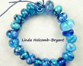 Lampwork Glass Bead Set of Mixed Blue Beads- 22