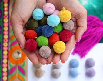 """Luxe Pom Poms with Loops for Jewelry, New SPRING Pantone Colors, 1"""" Designer Jewelry Making Charms, Summer Trend, Handmade Cotton, Pairs"""