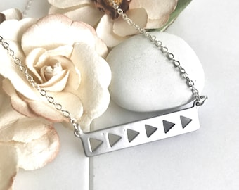 Simple Silver Bar Necklace.  Everyday Silver Bar Triangle Pendant Necklace. Dainty Silver Bar Necklace. Gift for Her. Layering Necklace.