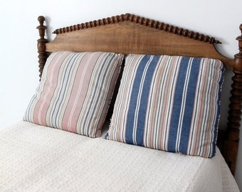 SALE vintage striped pillows, large canvas cushion covers