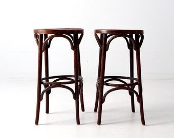 vintage bentwood stools, wooden cafe bar stools circa 1950