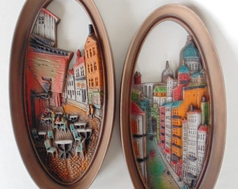 2 Oval Burwood Frames Colorful Water Front Street Cafe France Italy Scenes Romantic Home Decor VERY NICE Patterns #4386 & #4382