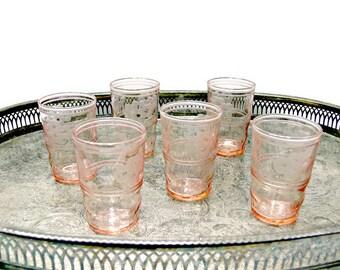 Vintage Shot Glasses - Pink Depression Glass - Floral Etched - Set of 6