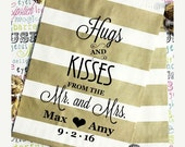 """XOXO SALE 100 Personalized Party Favor Bags, Gold Metallic Favor Bags, Gold Rugby Stripe Wedding Favor Bags - """"Hugs and Kissees From the Mr."""