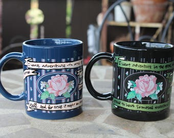 """Beauty and the Beast Rose Mug - Hand painted banners - """"I want adventure in the great, wide somewhere"""" - Navy and black"""