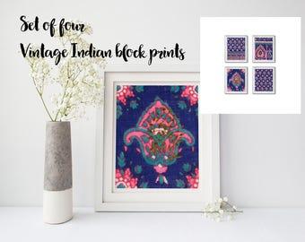 Vintage Indian Block Print, 8x10 Print Set, DIGITAL DOWNLOAD, Set of Four, Indian Fabric Print, Indian Collage Sheet, Blue Damask