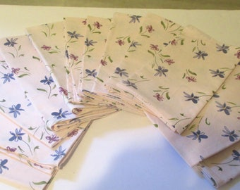 100% Cotton Dinner Napkins Springtime Floral Set of 12