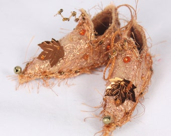 Copper Brown Christmas Ornament Fairy Shoes forest  Maple leaf faerie elf shoe tree decoration holiday decor fairy tree